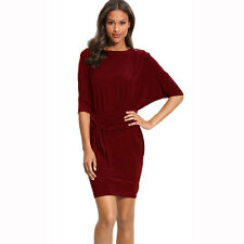 Batwing Sleeves Crewneck Jersey Party Day Night Cocktail Evening Dress Burgundy