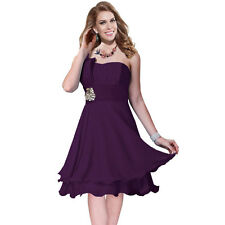 One Shoulder 2 Layer Chiffon Formal Cocktail Prom Party Dress Deep Purple