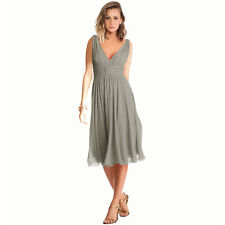 New Exquisite V-Neck Cocktail Evening Party Chiffon Day Dress Grey