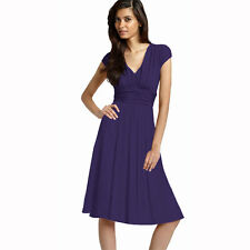Ruched Cap Sleeves Chiffon Cocktail Evening Dress Prom Party Wear Grape