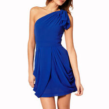 Chic One Shoulder Short Chiffon Cocktail Party Prom Dress Club Wear Cobalt Blue