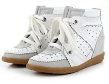 Women Suede Leather Hidden Wedge Heels High Top Gothic Ankle Boots Sneaker Shoes