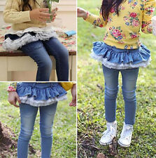 Kids Child Girls Sweet Clothing Lace Flounce Culotte Jeans Pants Trousers Sz4-9Y