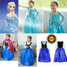 FREE Shipping Frozen Princess Girls Costumes Elsa Cosplay Fancy Dress 3-8Y
