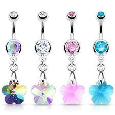 316L Surgical Steel Prism Rainbow Flower Gem Dangly Navel Belly Button Ring Bar
