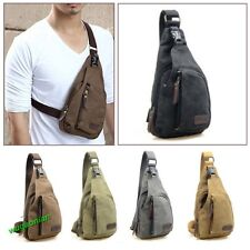 Men's Small Canvas Military Messenger Shoulder Travel Hiking Fanny Bag Backpack