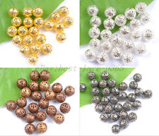 GOLD & SILVER PLATED,BRONZE,COPPER,Metal FILIGREE Spacer BEADS 6MM 8MM 10MM 12MM