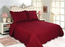 12-All For You 3PC quilt set, bedspread, and coverlet set-burgundy-reversible
