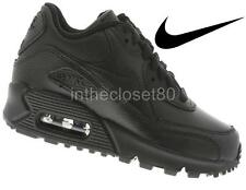 Nike Air Max 90 GS Triple Black Leather Junior Boys Girls Women Trainer 307793 0