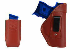 NEW Barsony Burgundy Leather IWB Holster + Mag Pouch S&W, M&P Compact 9mm 40 45