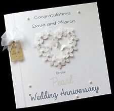 "LARGE 8""x8"" Personalised Wedding Anniversary Card 25th,30th,40th,50th,60th ANY"