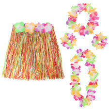 5 PC HULA SET LEI WRISTBANDS HEADBAND+ MULTI COLOURED HAWAIIAN SKIRT FANCY DRESS