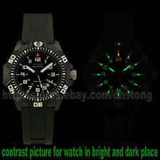 Swiss Ronda 3H TRITIUM Self Luminous 25 Years Military GLOW Watch Mens Rubber Bd