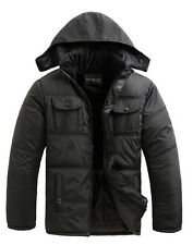 2014 Mens Quilted Warm Hooded Thicken Padded Jacket Outwear Coat Parka Slim