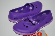 NEW NWT CROCS DUET ORB FLAT GIRLS mary janes 9 10 12 shoes NEON PURPLE / IRIS
