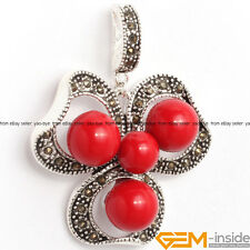 Fashion Christmas Jewelry Gift Tibetan Silver Marcasite Flower Pendant 29x38mm