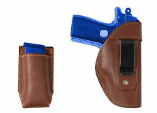 New Barsony Brown Leather IWB Holster + Mag Pouch Colt 380 Ultra Compact 9mm 40