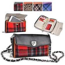 R Kroo Smart-Phone Plaid PU-Leather Protective Crossbody Clutch Purse Organizer