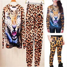New Fashion Womens Tiger Head Leopard Print Sport Suits Long Sleeved Tops Pants