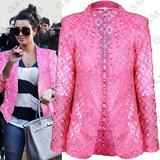 NEXT Pink Lace Blazer Jacket Summer Crochet Casual Party Floral Womens Ladies