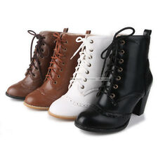 Womens Comfort Thick High Heels Classic Shoes Lace Up Ankle Boots US ALL Size