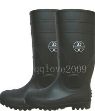 """SZ 5 6 TO 12 13 14 PVC Safety with steel toes Men's 16"""" Black Rubber Rain Boots"""
