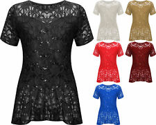 New Plus Size Womens Lace Sequin Ladies Short Sleeve Peplum Frill Top 14-28