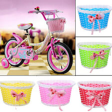 Retro Girls Bike Bicycle Front Basket Flowery Shopping Stabilizers Children Kids