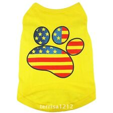 Dog Pet Clothes Summer Yellow USA Flag Claw Vest Sleeveless Dog T-Shirts Apparel