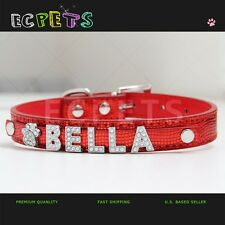 SNAKESKIN DOG/CAT PET COLLAR PERSONALIZED PU LEATHER WITH FREE RHINESTONE NAME