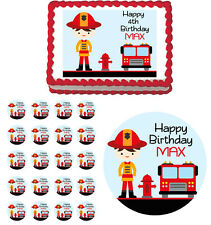 FIREFIGHTER BOY FIRE TRUCK Edible Cake Topper Cupcake Image Birthday Decoration