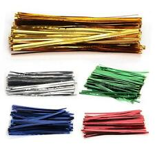 100 PCS Metallic Twist Ties for Cello Candy Cake Bag Party