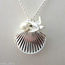 Little Silver Plated Sea Shell Photo Locket Beach Pendant Mermaid Necklace Gift