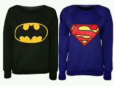 Womens Superman Batman Printed Long Sleeve Casual Sweatshirt Ladies Jumper Top