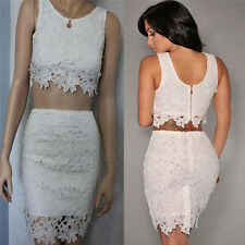 Womens Sexy Lace Crop Top and Skirt Two Piece Lace Set Party Bodycon Mini Dress