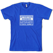 Attention Zombies Video Games - Mens T-Shirt - Gaming - Zombie - 10 Colours
