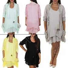 New Womens Ladies Italian 2 Pocket Lagenlook Summer Button Tunic Plus Size Dress