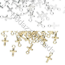 5 Small Little 7mm Religious Cross Drop Charms Plated Over Brass Base Metal