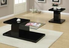 Modern Coffee Table w/ Swivel Glass Tabletop Shelf or End Snack Side Table Black