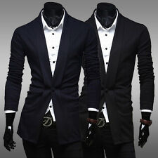 Mens Single-Breasted One Button Pure Color Suit Unique Top Fly Slim Fit Hot New