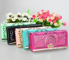 Fashion New Women Crown Hollow Long Wallet Purse Clutch Leather Free shiping