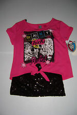 MONSTER HIGH GIRL'S PINK T- SHIRT WITH BLACK SEQUIN CAMI TOP 2FER  SIZE 7/8 NWT