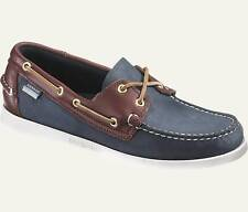 Mens Sebago Docksides Spinnaker Shoe Blue Brown 72852 Wide Width