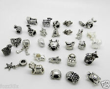 WHOLESALE TIBETAN SILVER & GLASS SPACER BEADS FOR / FIT EUROPEAN CHARM BRACELETS