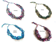 17 COLORS - Crochet TRELLIS LADDER Ribbon Railroad Yarn Adjustable Necklace