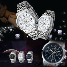 Men's Women's New Fashion Couple Design Stainless Steel Quartz Sport Wrist Watch