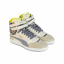 Puma Womens Womens Sky II Hi Animal Beige Leather Synthetic Sneakers Shoes