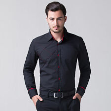 Men's Slim Fit Dress Shirts Basic Tops Business Office Wear to Work Formal Shirt