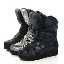 2014 News Womens Fashion Ink painting Velcros Flat Casual Ankle Boots Sneakers