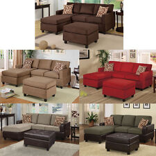 3 PCs. Modern Microfiber Two Tone Sectional Sofa with Reversible Chaise Ottoman
